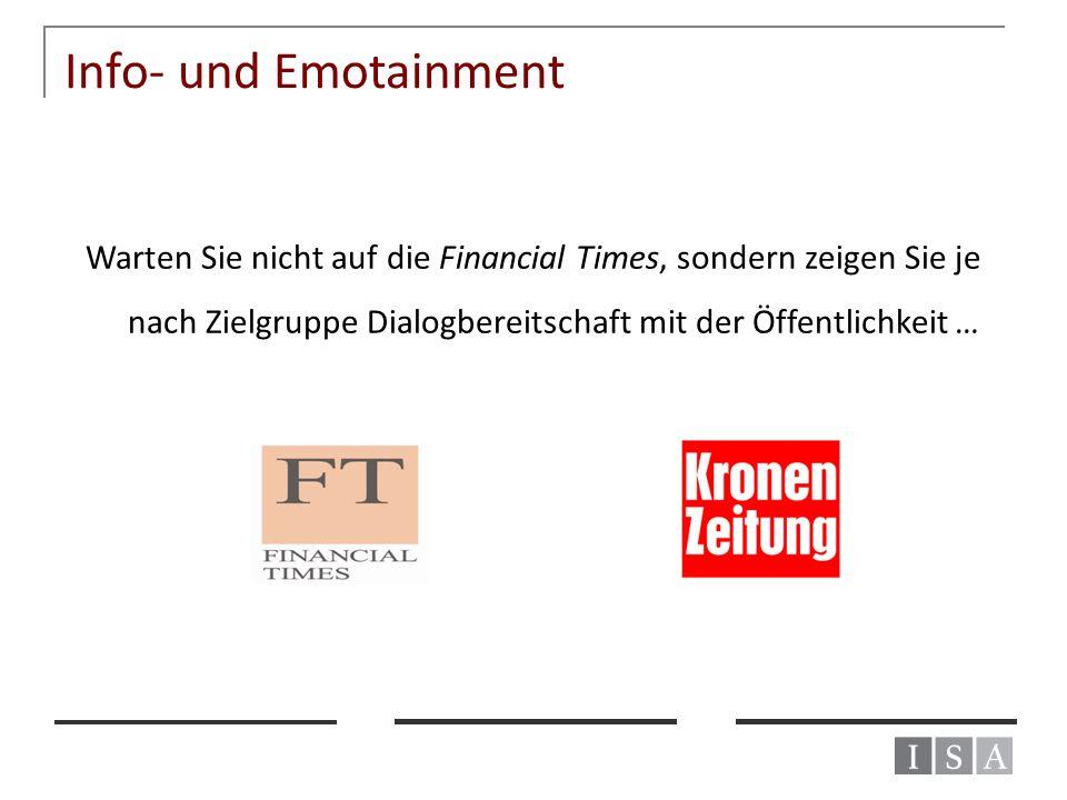 Info- und Emotainment Warten Sie nicht auf die Financial Times, sondern zeigen Sie je nach Zielgruppe Dialogbereitschaft mit der Öffentlichkeit …