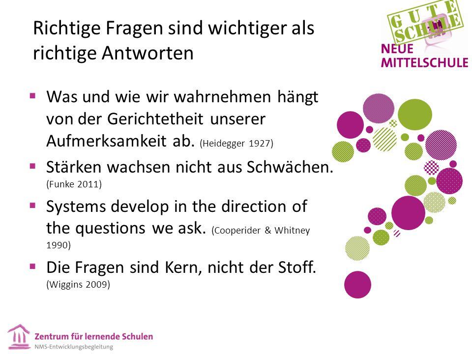 Richtige Fragen sind wichtiger als richtige Antworten  Was und wie wir wahrnehmen hängt von der Gerichtetheit unserer Aufmerksamkeit ab. (Heidegger 1