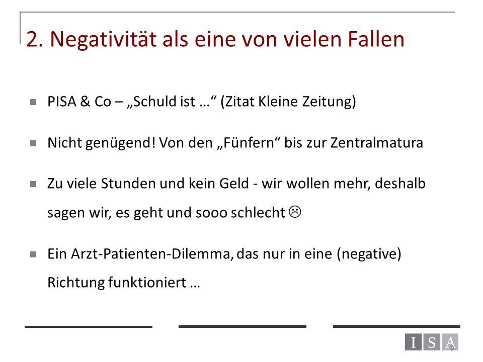 """2. Negativität als eine von vielen Fallen PISA & Co – """"Schuld ist …"""" (Zitat Kleine Zeitung) Nicht genügend! Von den """"Fünfern"""" bis zur Zentralmatura Zu"""
