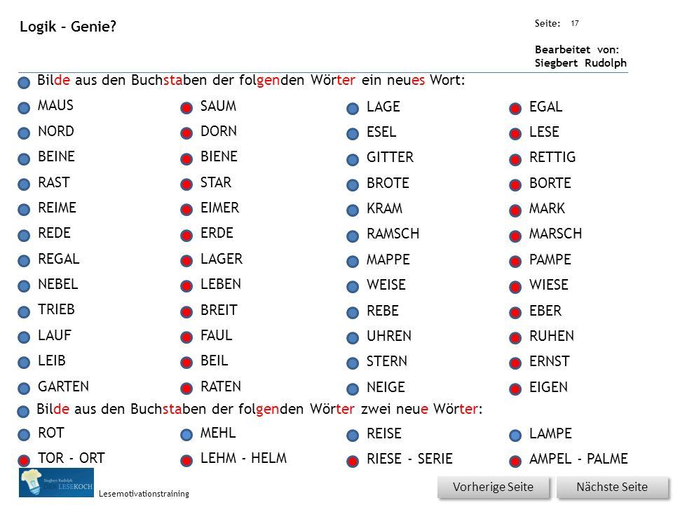 Übungsart: Seite: Bearbeitet von: Siegbert Rudolph Lesemotivationstraining 17 Logik – Genie.
