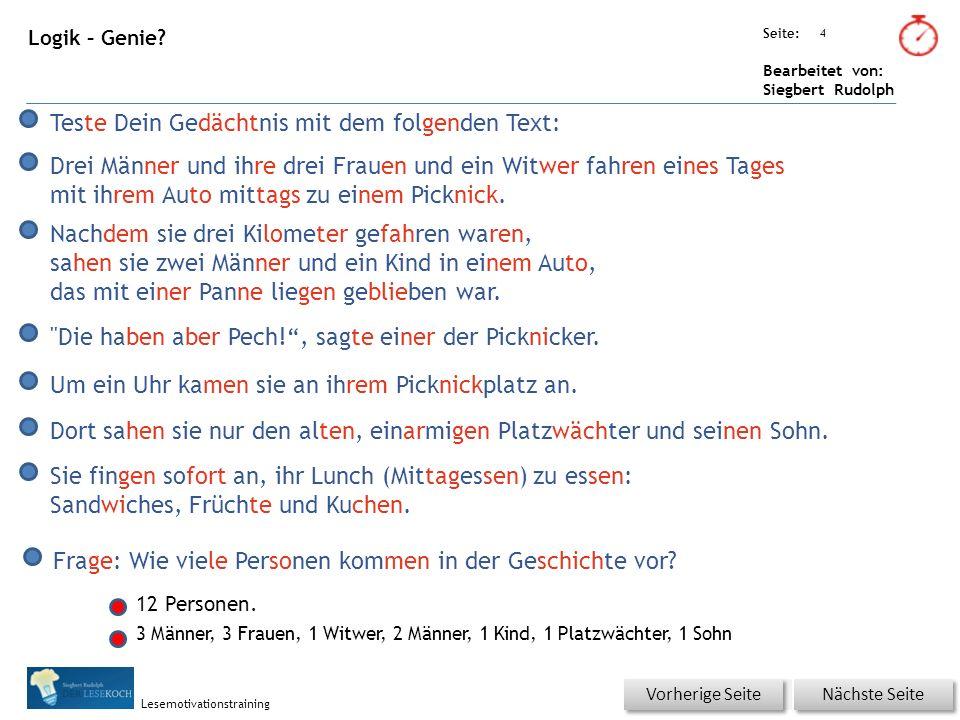 Übungsart: Seite: Bearbeitet von: Siegbert Rudolph Lesemotivationstraining 4 Logik – Genie.