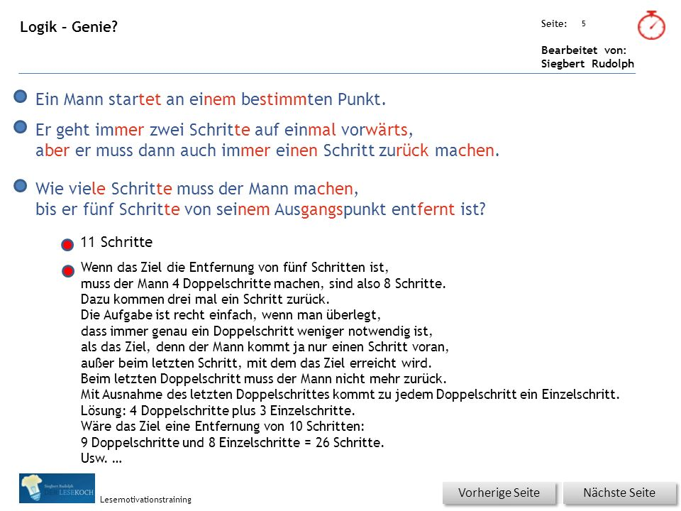 Übungsart: Seite: Bearbeitet von: Siegbert Rudolph Lesemotivationstraining 5 Logik – Genie.