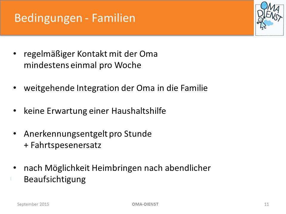 Bedingungen - Familien September 2015OMA-DIENST11 regelmäßiger Kontakt mit der Oma mindestens einmal pro Woche weitgehende Integration der Oma in die Familie keine Erwartung einer Haushaltshilfe Anerkennungsentgelt pro Stunde + Fahrtspesenersatz nach Möglichkeit Heimbringen nach abendlicher Beaufsichtigung