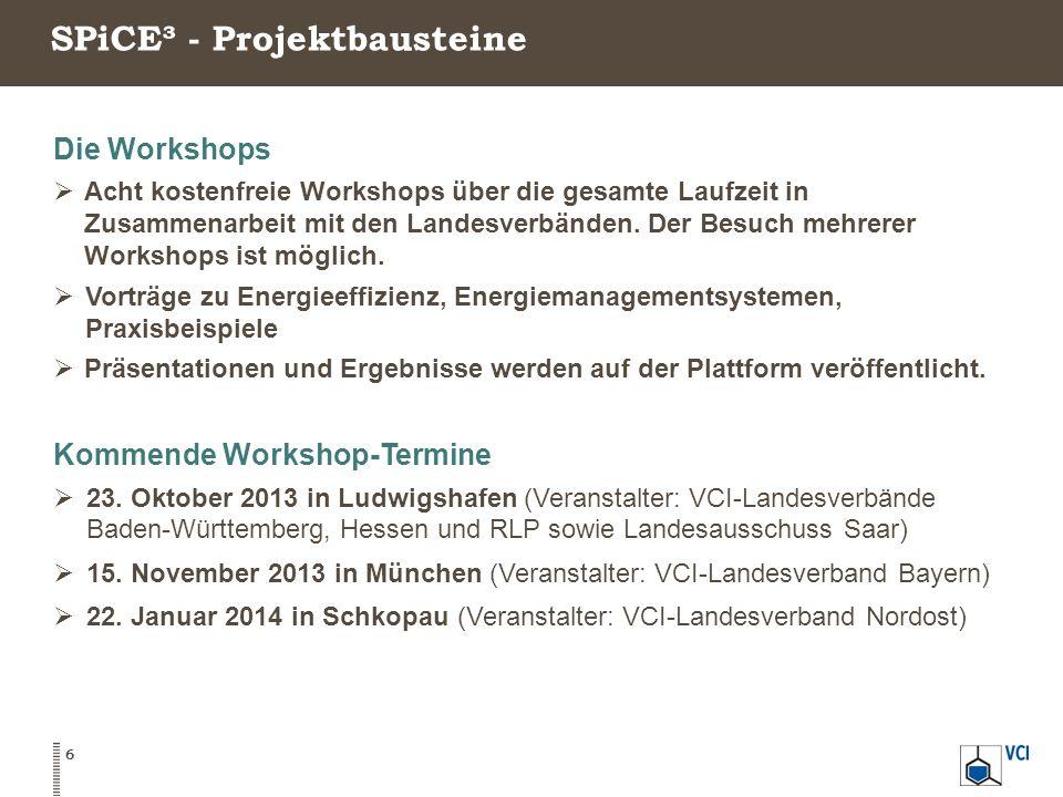 SPiCE³ - Projektbausteine 6 Die Workshops  Acht kostenfreie Workshops über die gesamte Laufzeit in Zusammenarbeit mit den Landesverbänden.
