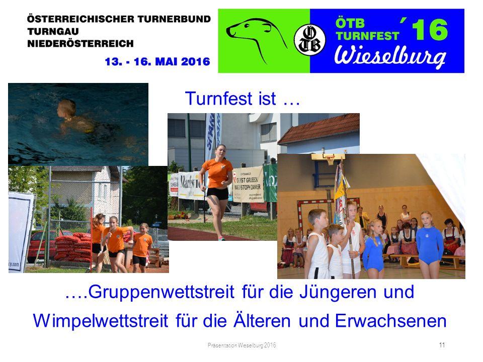 Turnfest ist … Präsentation Wieselburg 2016 11 Wimpelwettstreit für die Älteren und Erwachsenen ….Gruppenwettstreit für die Jüngeren und