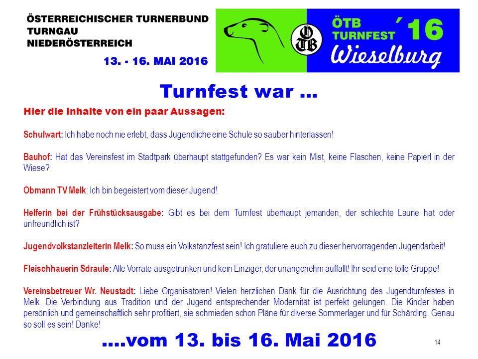 14 Turnfest war … ….vom 13. bis 16. Mai 2016 Hier die Inhalte von ein paar Aussagen: Schulwart: Ich habe noch nie erlebt, dass Jugendliche eine Schule