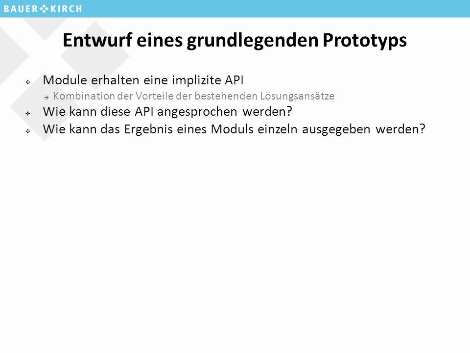 Entwurf eines grundlegenden Prototyps  Module erhalten eine implizite API  Kombination der Vorteile der bestehenden Lösungsansätze  Wie kann diese API angesprochen werden.