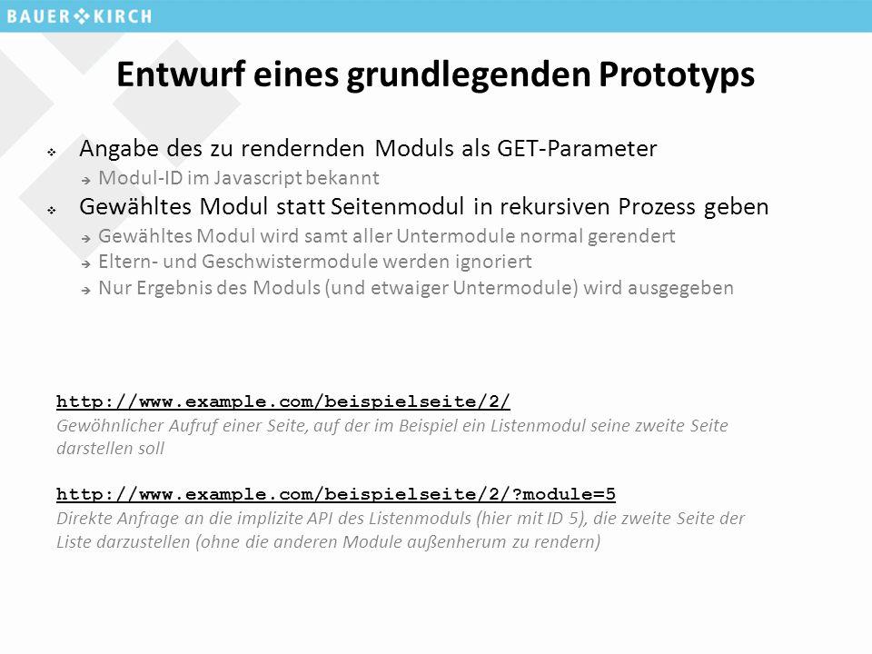 Entwurf eines grundlegenden Prototyps  Angabe des zu rendernden Moduls als GET-Parameter  Modul-ID im Javascript bekannt  Gewähltes Modul statt Seitenmodul in rekursiven Prozess geben  Gewähltes Modul wird samt aller Untermodule normal gerendert  Eltern- und Geschwistermodule werden ignoriert  Nur Ergebnis des Moduls (und etwaiger Untermodule) wird ausgegeben http://www.example.com/beispielseite/2/ Gewöhnlicher Aufruf einer Seite, auf der im Beispiel ein Listenmodul seine zweite Seite darstellen soll http://www.example.com/beispielseite/2/ module=5 Direkte Anfrage an die implizite API des Listenmoduls (hier mit ID 5), die zweite Seite der Liste darzustellen (ohne die anderen Module außenherum zu rendern)