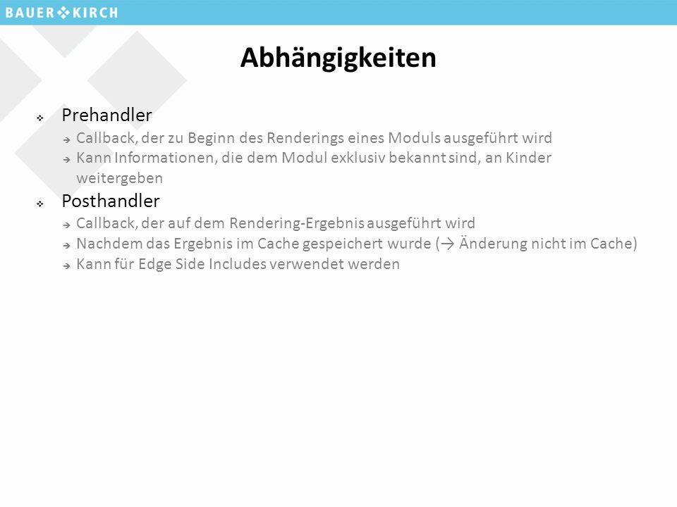 Abhängigkeiten  Prehandler  Callback, der zu Beginn des Renderings eines Moduls ausgeführt wird  Kann Informationen, die dem Modul exklusiv bekannt