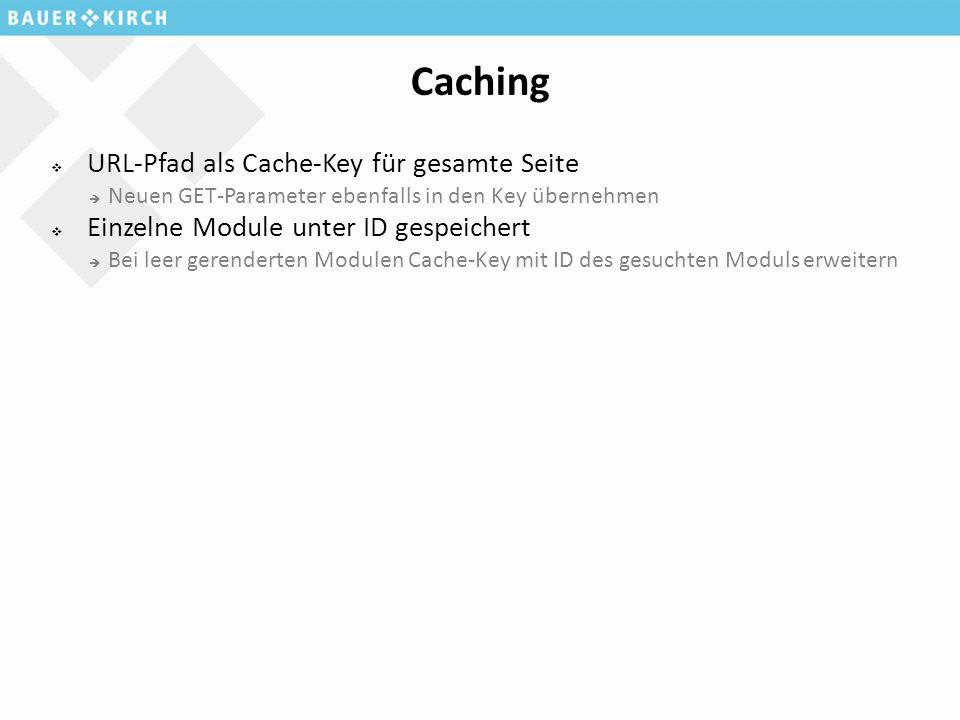 Caching  URL-Pfad als Cache-Key für gesamte Seite  Neuen GET-Parameter ebenfalls in den Key übernehmen  Einzelne Module unter ID gespeichert  Bei