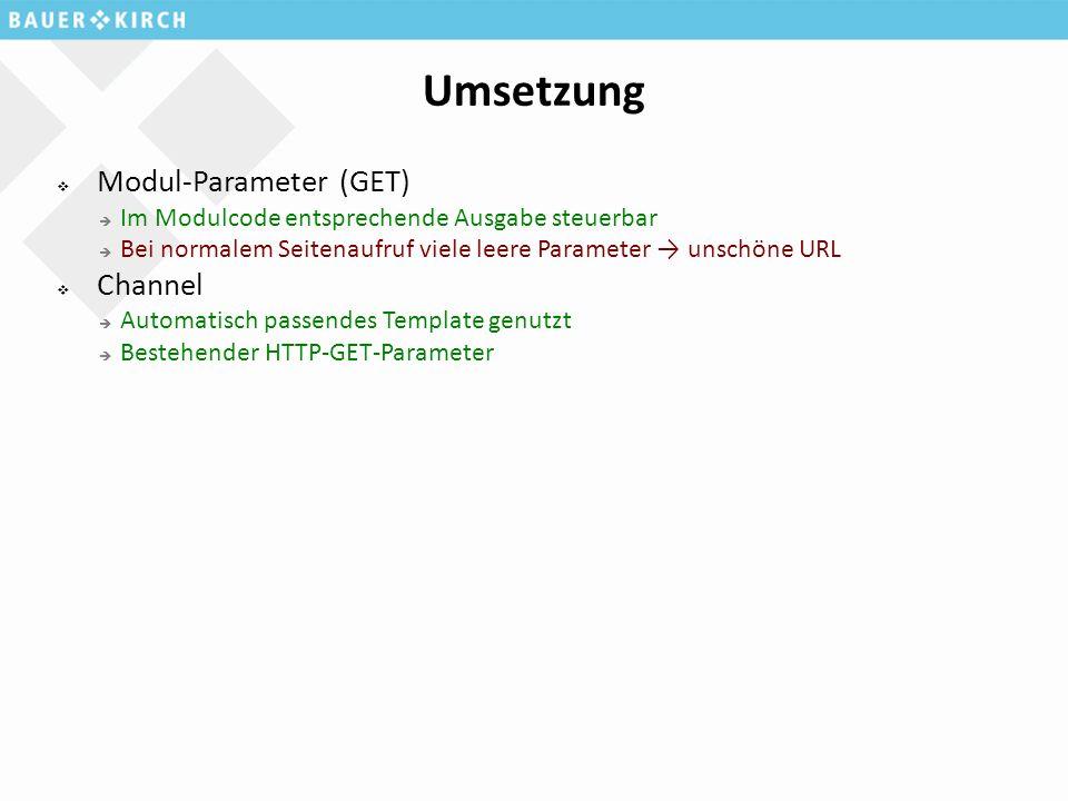 Umsetzung  Modul-Parameter (GET)  Im Modulcode entsprechende Ausgabe steuerbar  Bei normalem Seitenaufruf viele leere Parameter → unschöne URL  Channel  Automatisch passendes Template genutzt  Bestehender HTTP-GET-Parameter