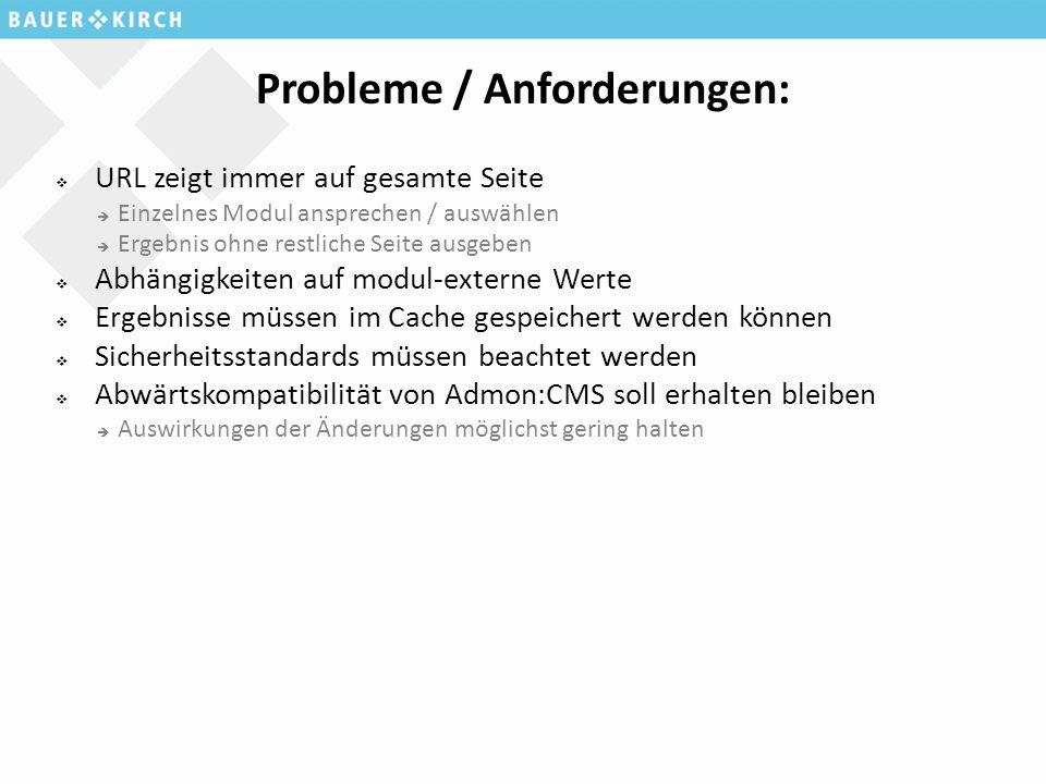 Probleme / Anforderungen:  URL zeigt immer auf gesamte Seite  Einzelnes Modul ansprechen / auswählen  Ergebnis ohne restliche Seite ausgeben  Abhä