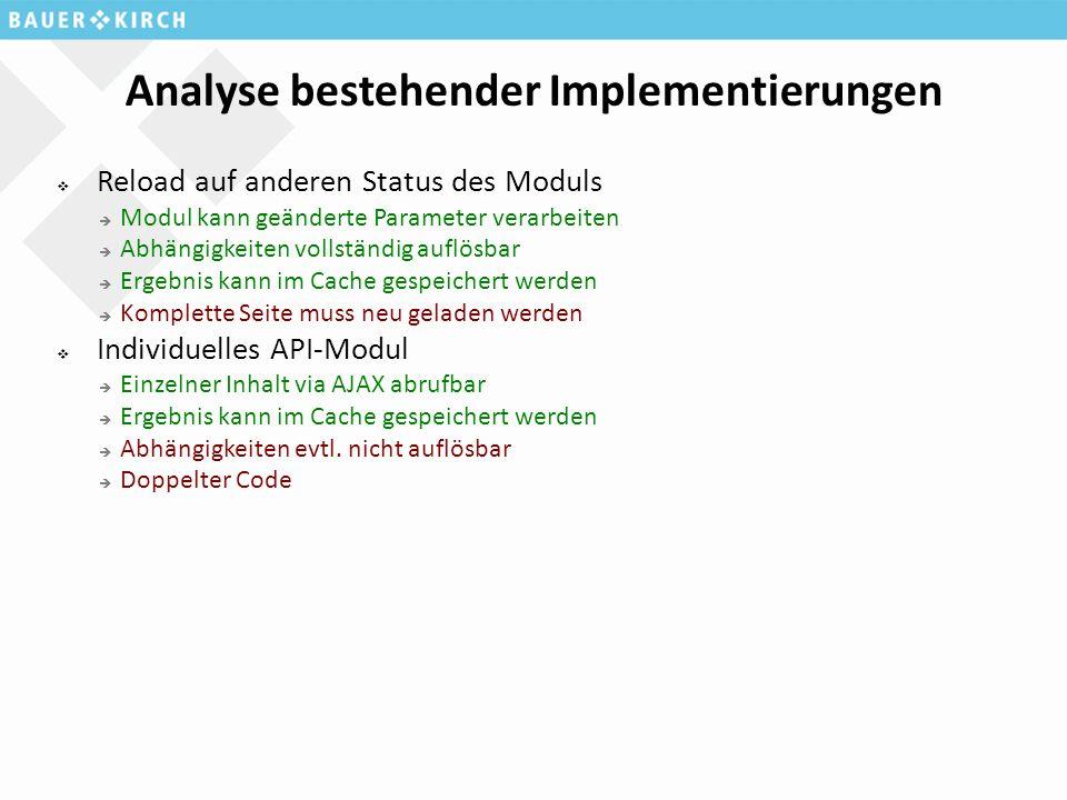 Analyse bestehender Implementierungen  Reload auf anderen Status des Moduls  Modul kann geänderte Parameter verarbeiten  Abhängigkeiten vollständig