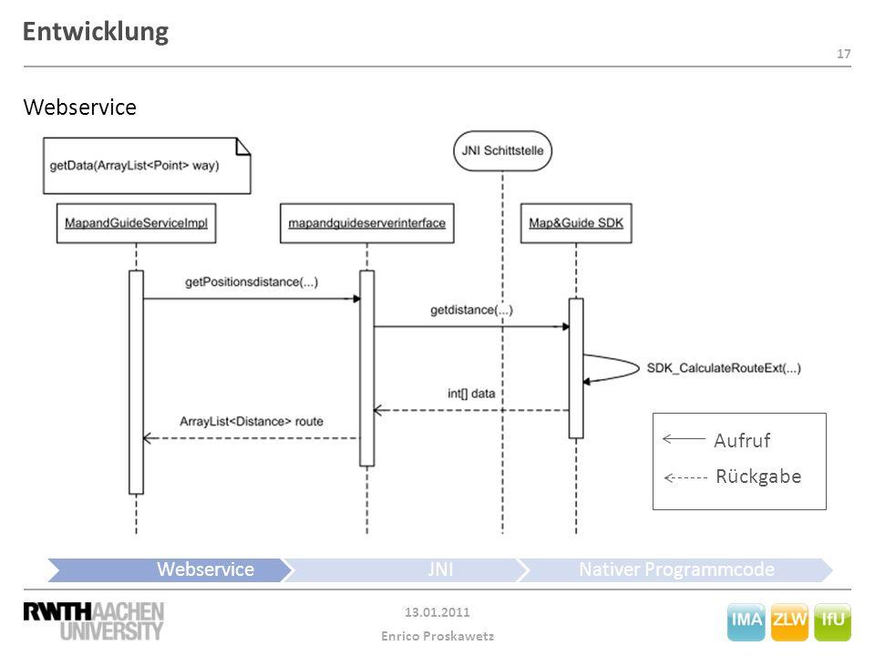 17 13.01.2011 Enrico Proskawetz Entwicklung WebserviceJNINativer Programmcode Webservice Aufruf Rückgabe