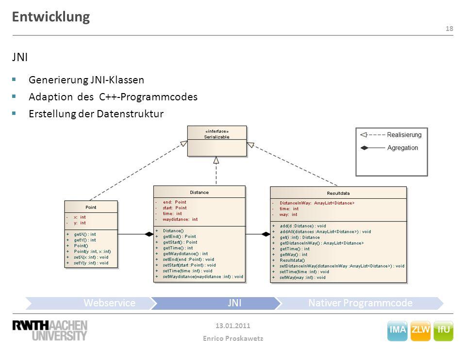 18 13.01.2011 Enrico Proskawetz Entwicklung WebserviceJNINativer Programmcode JNI  Generierung JNI-Klassen  Adaption des C++-Programmcodes  Erstellung der Datenstruktur