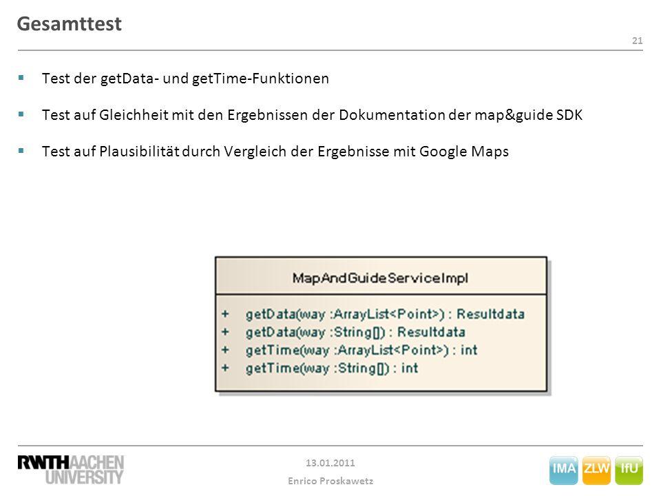 21 13.01.2011 Enrico Proskawetz Gesamttest  Test der getData- und getTime-Funktionen  Test auf Gleichheit mit den Ergebnissen der Dokumentation der map&guide SDK  Test auf Plausibilität durch Vergleich der Ergebnisse mit Google Maps