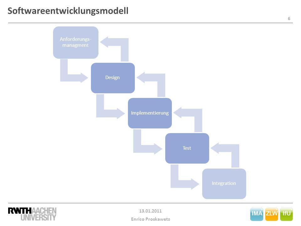6 13.01.2011 Enrico Proskawetz Softwareentwicklungsmodell Anforderungs- managment DesignImplementierungTestIntegration