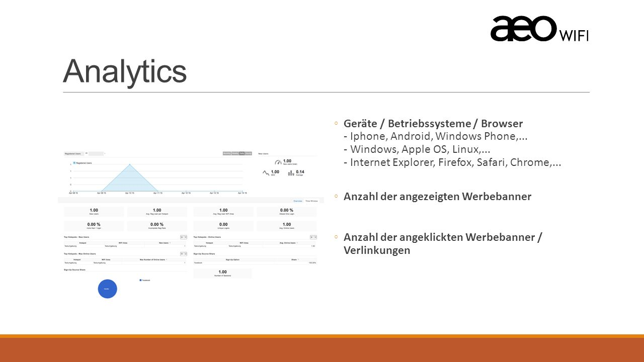 Analytics ◦Geräte / Betriebssysteme / Browser - Iphone, Android, Windows Phone,...