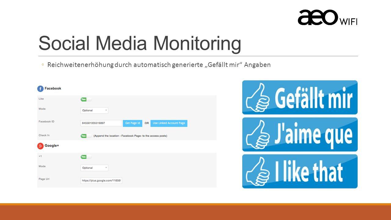 """Social Media Monitoring ◦Reichweitenerhöhung durch automatisch generierte """"Gefällt mir Angaben"""