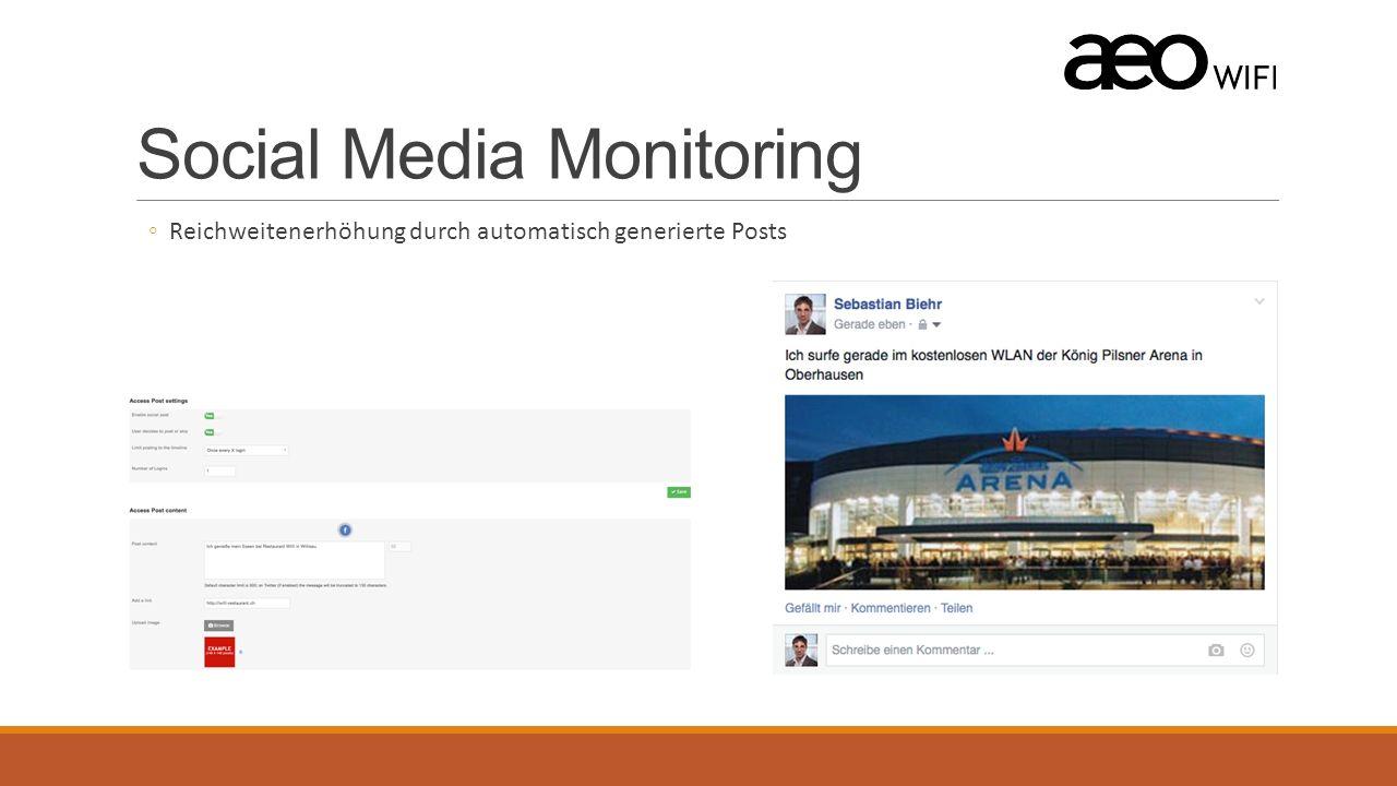 Social Media Monitoring ◦Reichweitenerhöhung durch automatisch generierte Posts