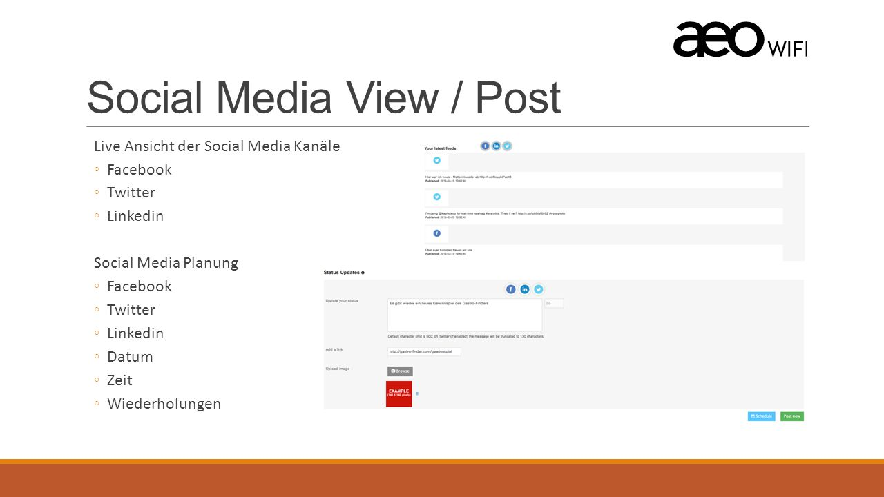 Social Media View / Post Live Ansicht der Social Media Kanäle ◦Facebook ◦Twitter ◦Linkedin Social Media Planung ◦Facebook ◦Twitter ◦Linkedin ◦Datum ◦Z