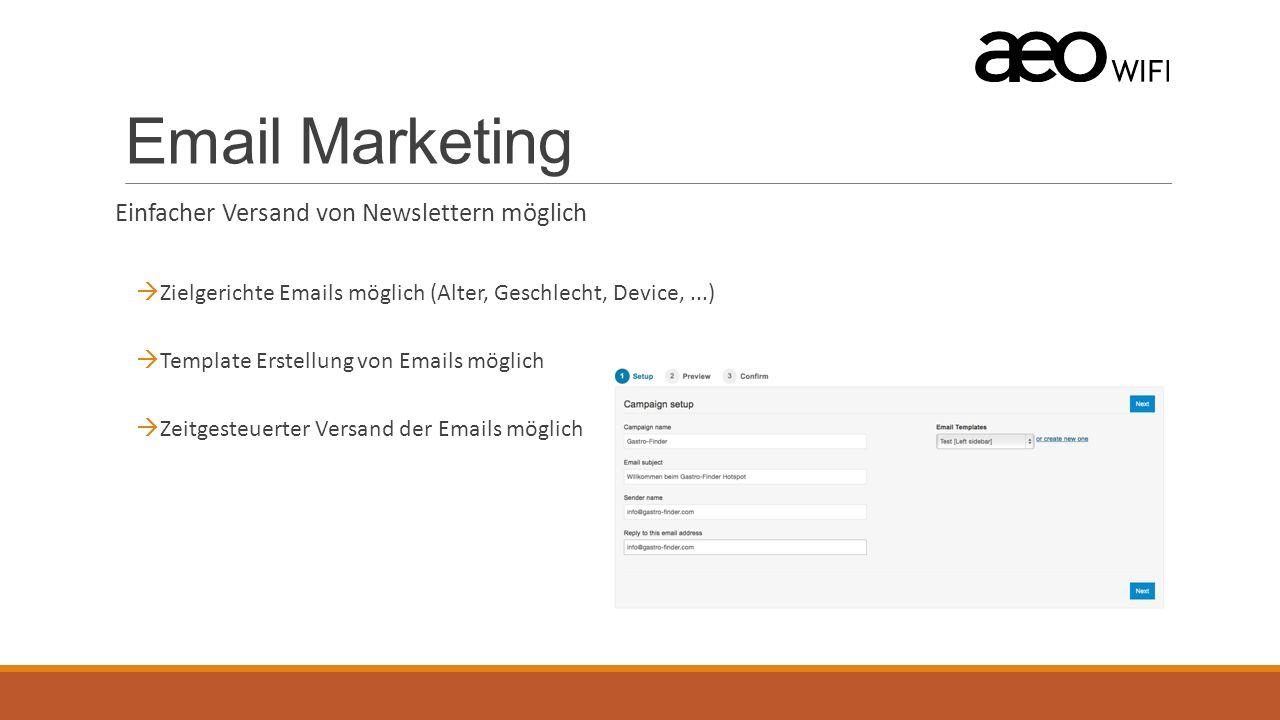 Email Marketing Einfacher Versand von Newslettern möglich  Zielgerichte Emails möglich (Alter, Geschlecht, Device,...)  Template Erstellung von Emails möglich  Zeitgesteuerter Versand der Emails möglich