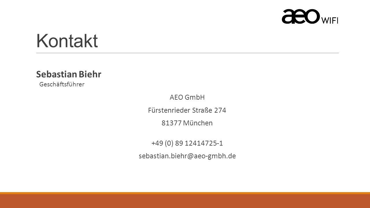Kontakt Sebastian Biehr Geschäftsführer AEO GmbH Fürstenrieder Straße 274 81377 München +49 (0) 89 12414725-1 sebastian.biehr@aeo-gmbh.de