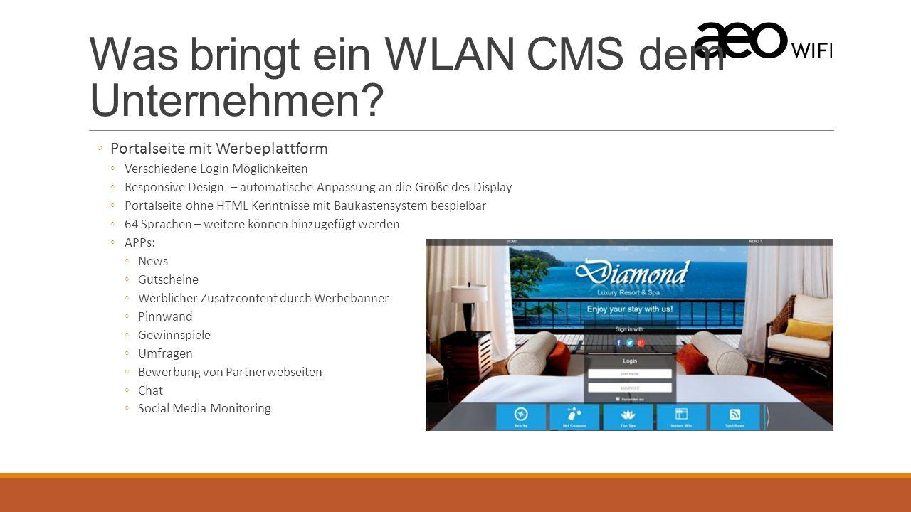 Filialen / Hotelketten Ein mandantenfähiges WLAN Content Management System ◦Einmaliger Login für alle Standorte ◦Standortübergreifende Statistiken und Auswertungsmöglichkeiten ◦Standortübergreifende Pflege der Portalseite ◦Z.