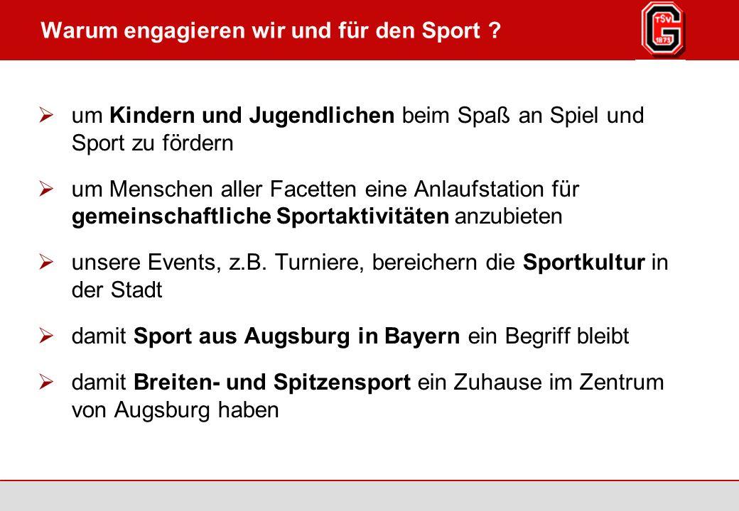 Augsburg / Göggingen 2007 Seite 2 TSV Göggingen 1875 e.V., www.tsv-goeggingen.de Warum engagieren wir und für den Sport .