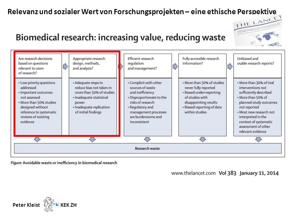 Relevanz und sozialer Wert von Forschungsprojekten – eine ethische Perspektive Peter Kleist KEK ZH Priorität: Die Beurteilung der wissenschaftlichen Qualität + ( … eine Auswahl …) Fairer Vergleich.