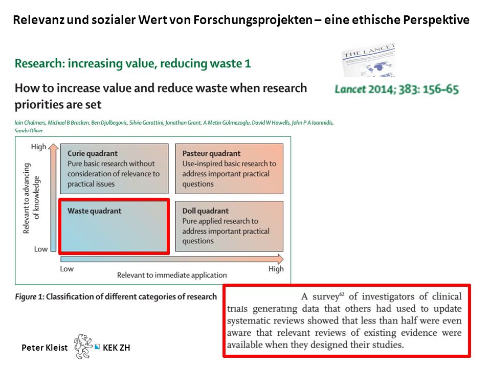 Relevanz und sozialer Wert von Forschungsprojekten – eine ethische Perspektive Peter Kleist KEK ZH Ergänzende Bemerkungen zum sozialen Wert einer Studie -Besondere Bedeutung in Bezug auf Forschung in Schwellen- bzw.