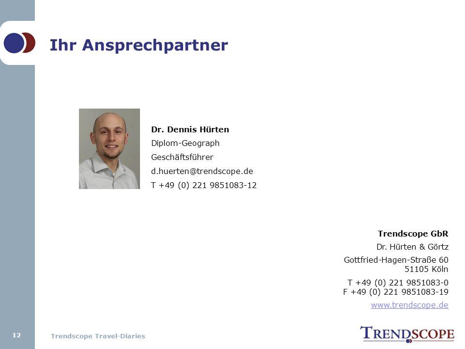 Trendscope Travel-Diaries 12 Ihr Ansprechpartner Dr. Dennis Hürten Diplom-Geograph Geschäftsführer d.huerten@trendscope.de T +49 (0) 221 9851083-12 Tr