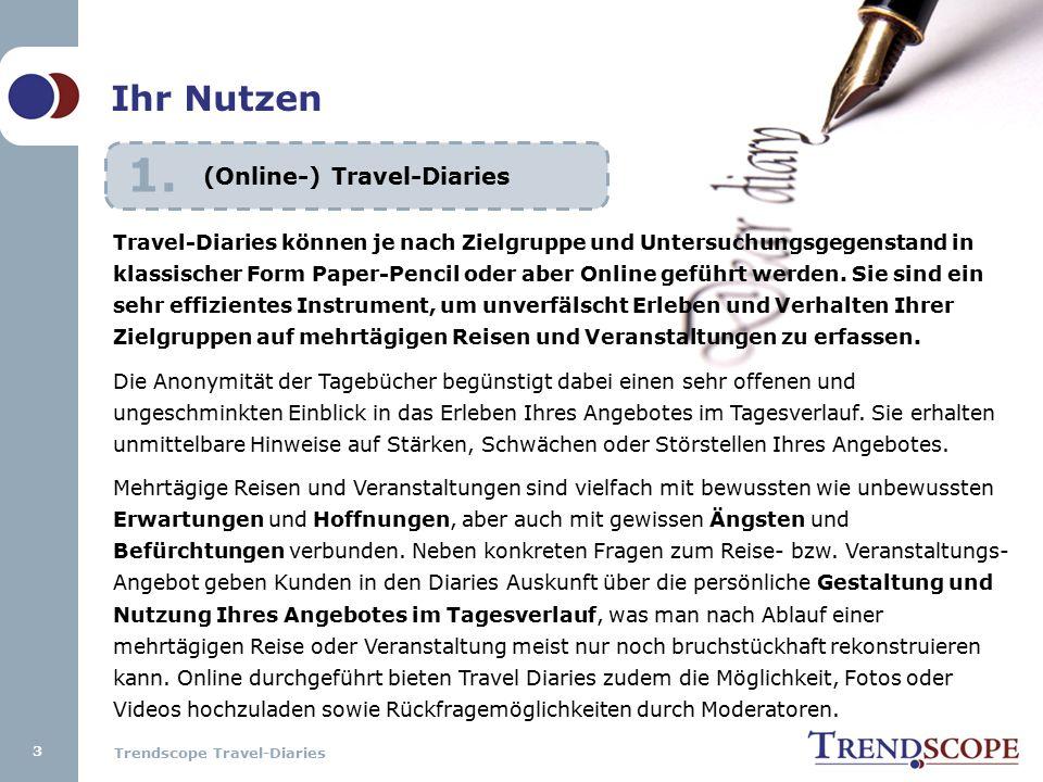 Trendscope Travel-Diaries Im Nachklang der Diaries können geeignete Probanden ausgesucht und im Rahmen von Tiefeninterviews (90-120 Min.) ausführlich zu ihren konkreten Erfahrungen bezüglich der gewünschten Fragestellungen sowie ggf.