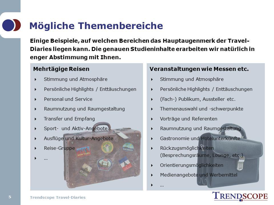 Trendscope Travel-Diaries Mehrtägige Reisen  Stimmung und Atmosphäre  Persönliche Highlights / Enttäuschungen  Personal und Service  Raumnutzung u