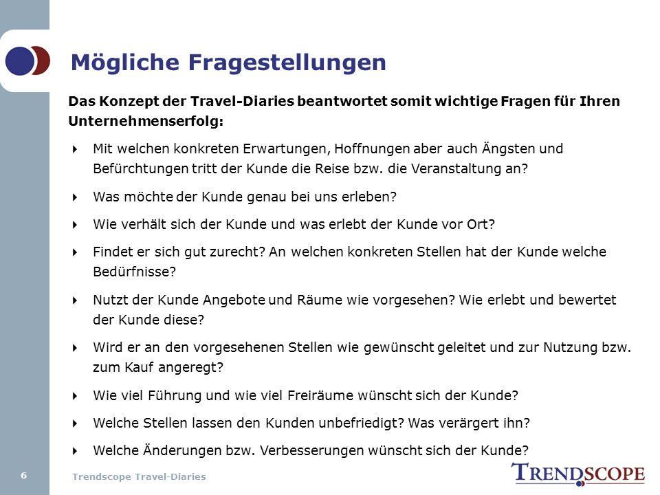 Trendscope Travel-Diaries Mögliche Fragestellungen Das Konzept der Travel-Diaries beantwortet somit wichtige Fragen für Ihren Unternehmenserfolg:  Mit welchen konkreten Erwartungen, Hoffnungen aber auch Ängsten und Befürchtungen tritt der Kunde die Reise bzw.