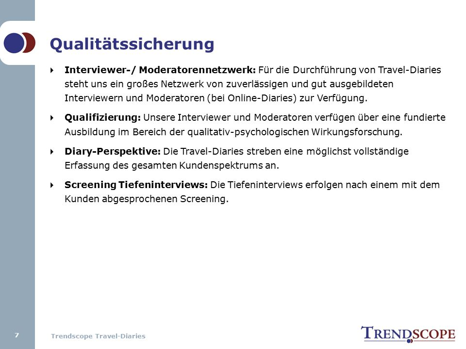 Trendscope Travel-Diaries Zieldefinition & Projektorganisation 1.