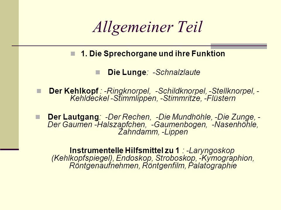 1. Die Sprechorgane und ihre Funktion Die Lunge: -Schnalzlaute Der Kehlkopf : -Ringknorpel, -Schildknorpel, -Stellknorpel, - Kehldeckel -Stimmlippen,