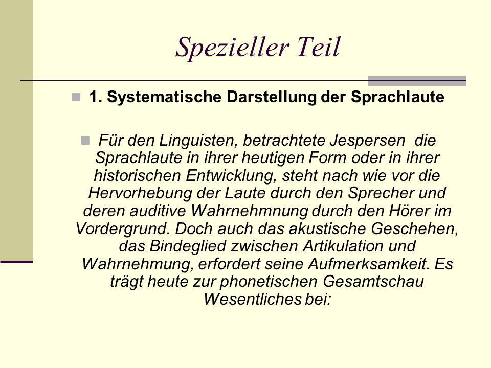 1. Systematische Darstellung der Sprachlaute Für den Linguisten, betrachtete Jespersen die Sprachlaute in ihrer heutigen Form oder in ihrer historisch