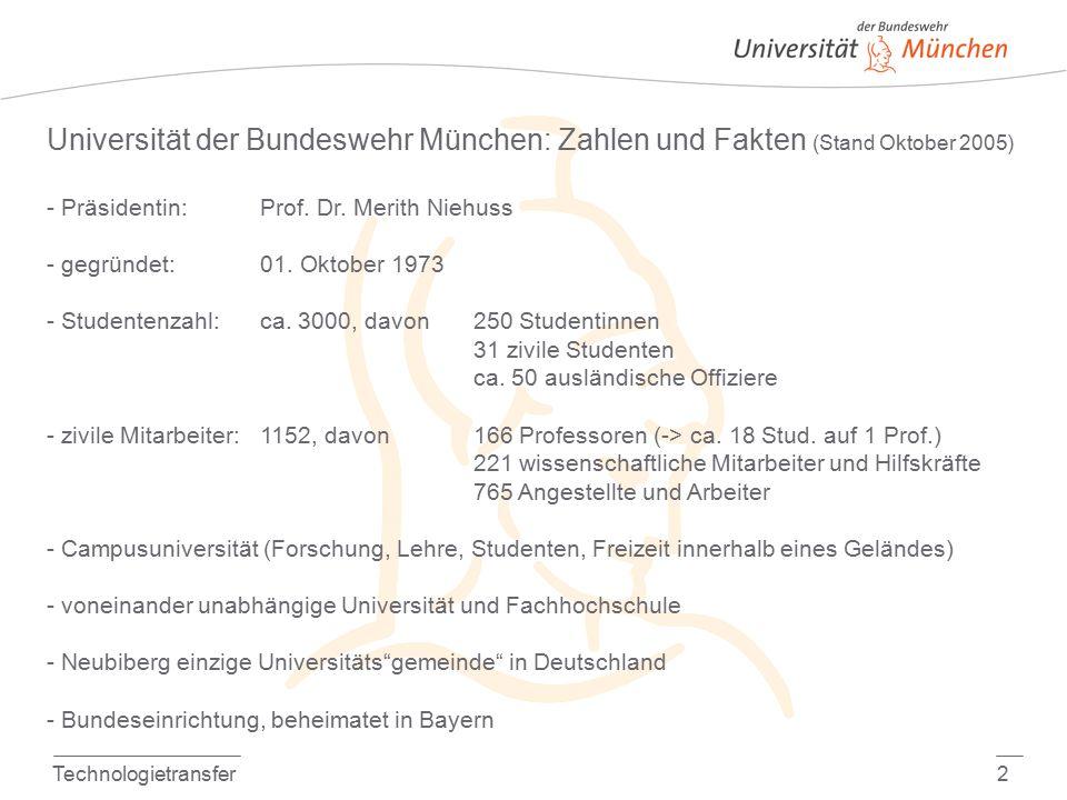 Technologietransfer2 Universität der Bundeswehr München: Zahlen und Fakten (Stand Oktober 2005) - Präsidentin: Prof.