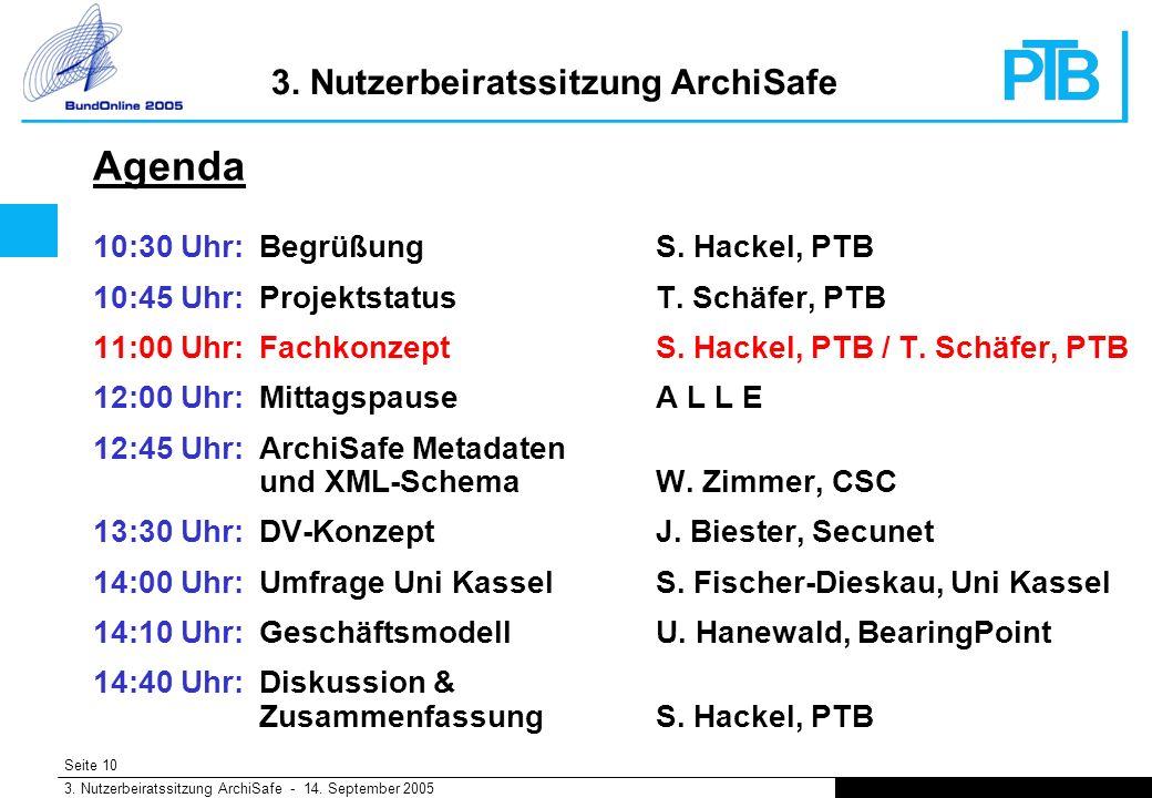Seite 10 3. Nutzerbeiratssitzung ArchiSafe - 14. September 2005 3.