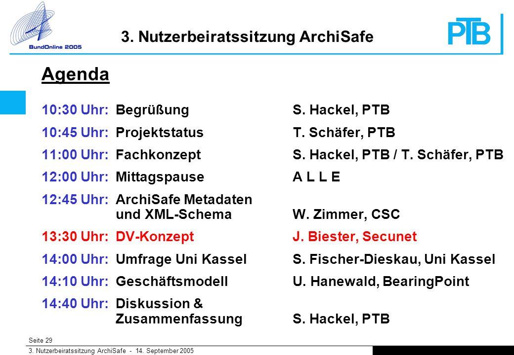 Seite 29 3. Nutzerbeiratssitzung ArchiSafe - 14. September 2005 3.