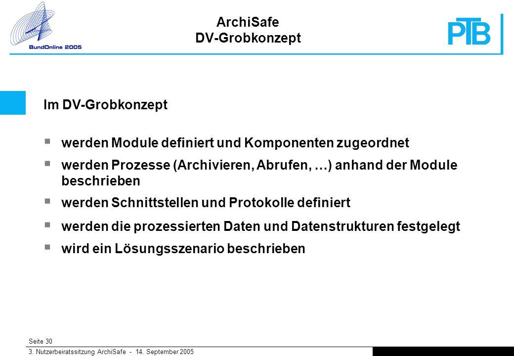 Seite 30 3. Nutzerbeiratssitzung ArchiSafe - 14.