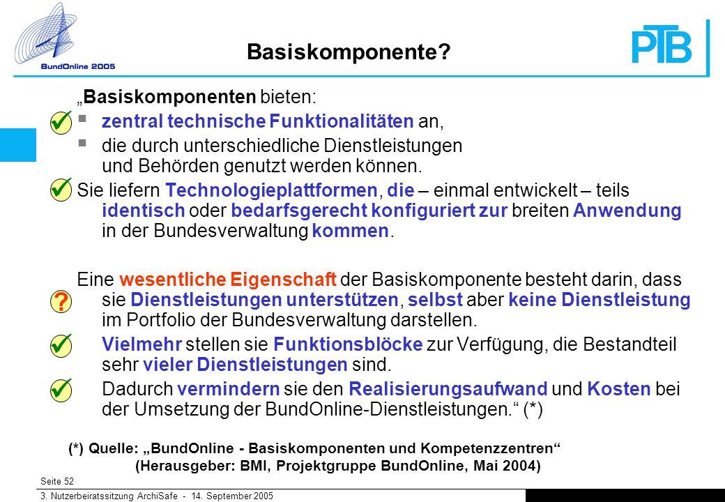 Seite 52 3. Nutzerbeiratssitzung ArchiSafe - 14. September 2005 Basiskomponente.