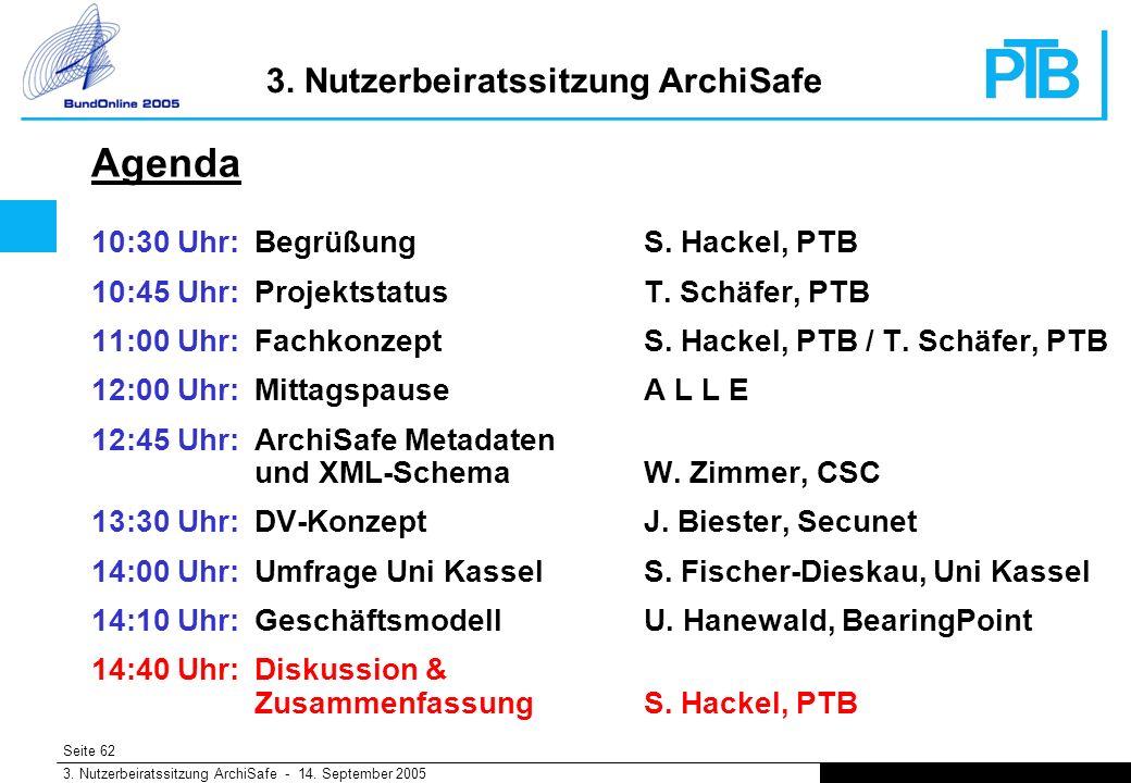 Seite 62 3. Nutzerbeiratssitzung ArchiSafe - 14. September 2005 3.