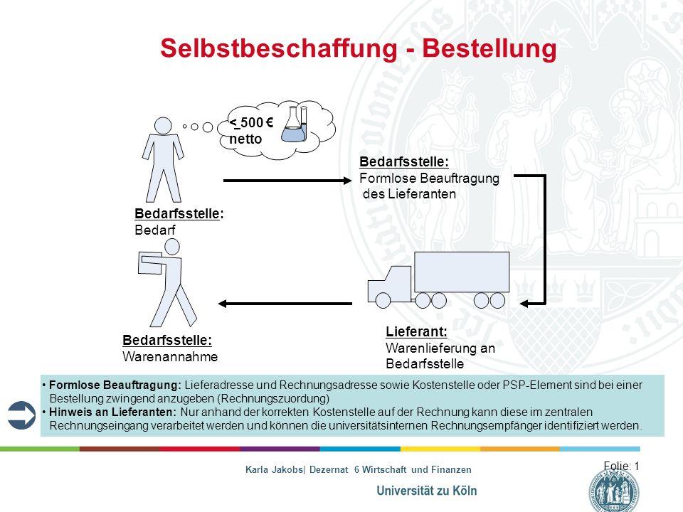 Karla Jakobs| Dezernat 6 Wirtschaft und Finanzen Selbstbeschaffung - Bestellung Folie: 1 Bedarfsstelle: Bedarf Lieferant: Warenlieferung an Bedarfsste
