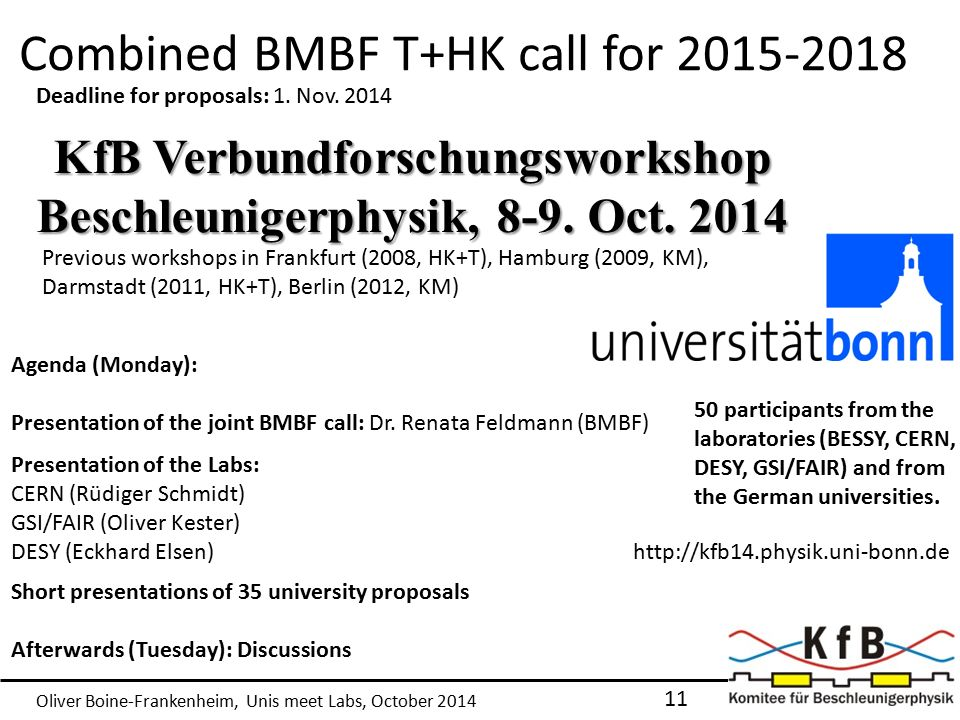 Oliver Boine-Frankenheim, Unis meet Labs, October 2014 Combined BMBF T+HK call for 2015-2018 11 KfB Verbundforschungsworkshop Beschleunigerphysik, 8-9.