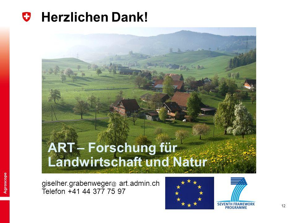 12 Herzlichen Dank! ART – Forschung für Landwirtschaft und Natur giselher.grabenweger @ art.admin.ch Telefon +41 44 377 75 97
