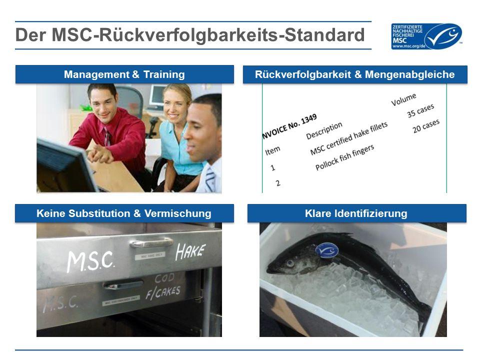 Der MSC-Rückverfolgbarkeits-Standard Management & Training Rückverfolgbarkeit & Mengenabgleiche Keine Substitution & Vermischung Klare Identifizierung