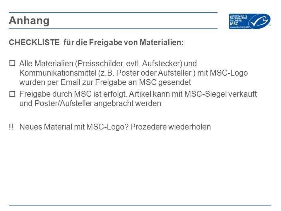 CHECKLISTE für die Freigabe von Materialien:  Alle Materialien (Preisschilder, evtl.