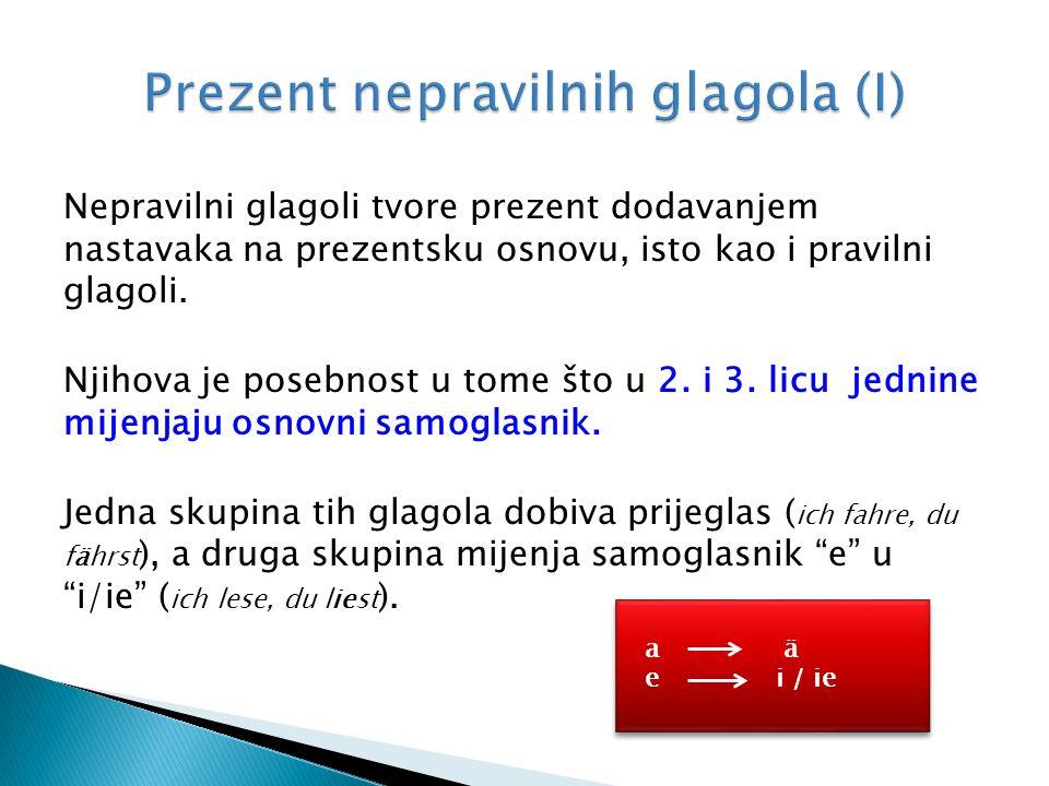 Nepravilni glagoli tvore prezent dodavanjem nastavaka na prezentsku osnovu, isto kao i pravilni glagoli.